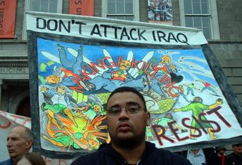 Don't attack Iraq banner