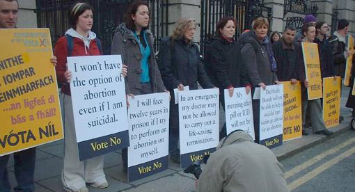 Pro choice demonstration at the Dail