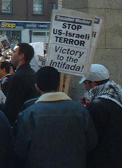 SWP Victory to the Intifada placard