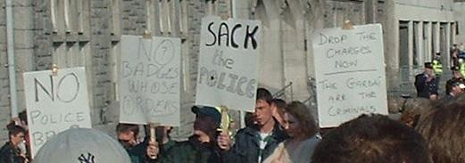 Anti police placards