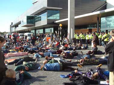 An anti war die in at Shannon airport