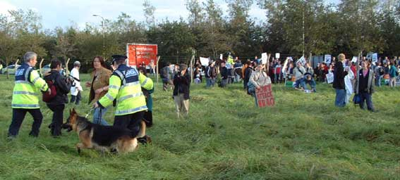 Police dogs used on anti war protesters at Shannon airport