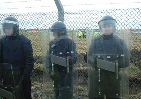 Irish riot police at Shannon airport