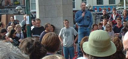 Speaking at the anti war rally in Dublin