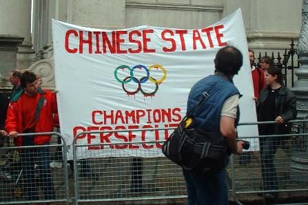 Against the olympics in China