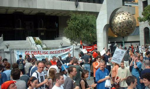 Globalise resistance at the Central Bank in Dublin