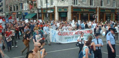 Globalise resistance banner at front of march
