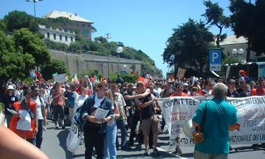 CWI banner at G8 demonstration in Genoa