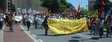 Cultural banner at G8 demonstration in Genoa