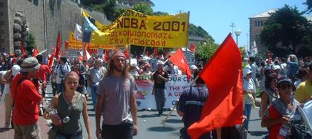 Greek banner at G8 protest in Genoa