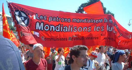 JCR banner at G8 protest in Genoa