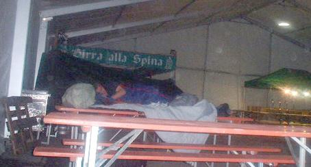 Sleeping in a table at the Genoa protests