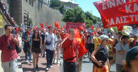Another banner at G8 protest in Genoa