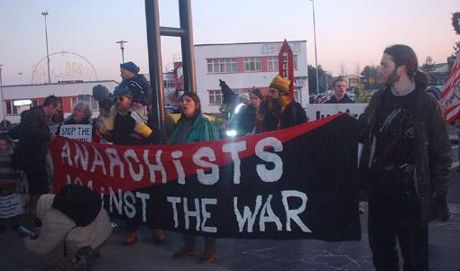 Anarchists against the War banner at Shannon